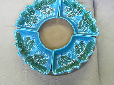 1950'S VTG USA California Pottery  Lazy Susan Set Turquouse ,Green Leaves