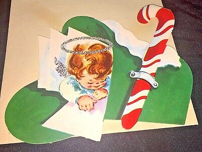 Vintage Christmas Greeting Card Hanging Ornaments  Angel Glitter Halo Candy Cane