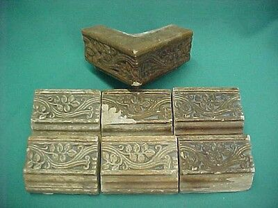 6 Vintage 1920's Arts & Crafts Batchelder Border Ledge Tiles Vines w/Corner Tile