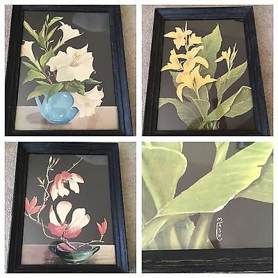 Vintage M Cash Mid Century Art Deco Framed Print Asian Flower Lot of 3 Estate