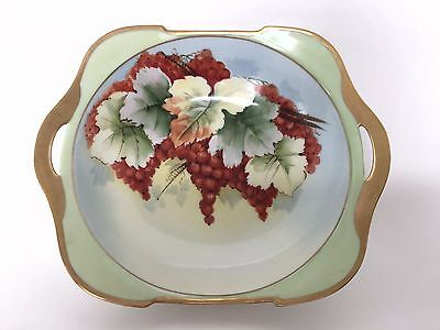 RS Germany Porcelain Hand Painted Red Berries Gold Gild Handled Decorative Bowl