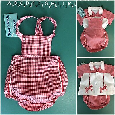 Vtg 50s Romper Baby Set Cotton Red Gingham Micro-Check Carousel Horses nos