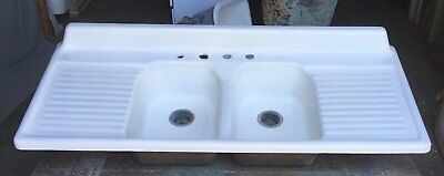 Vtg Cast Iron Porcelain Double Drainboard  Basin Farmhouse Kitchen Sink 494-17E