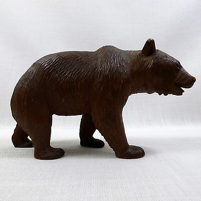 Antique Brienz Swiss Black Forest Wood Carving Bear Glass Eyes ca. 1900