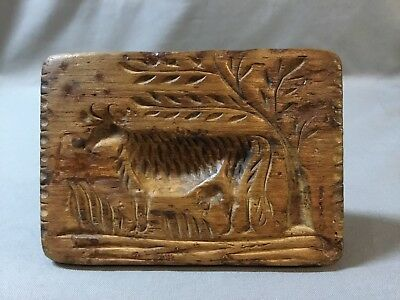 Rare 19c PA Primitive Folk Art Butter Print Stamp Cow Under Tree