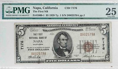 1929 $5 Napa, California National Bank Note Fr#1800-1 Ch#7176 Item#T5841