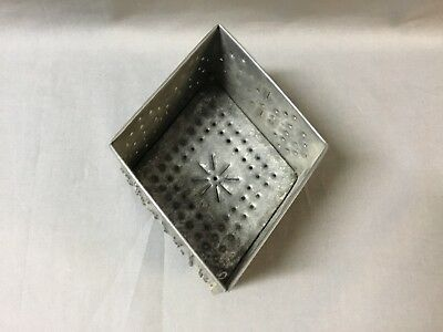 19c Diamond Punched Tin Folk Art Cheese Strainer