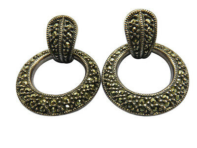 Judith Jack Sterling Silver Pierced Earrings Door Knocker Marcasite Designer 6gg