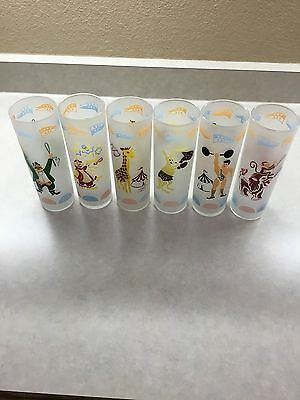 Set of 6 Vintage Mid-Century Circus Themed Frosted Glasses