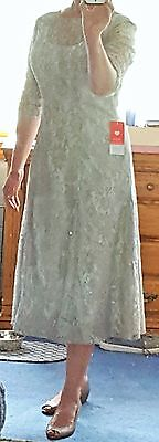 NWT JJ's House Mother of The Bride Dress, Tea Length, Silver Lace Size 14