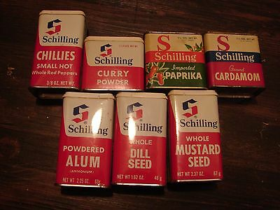 7 Vintage Schilling Tins - Very Good Condition