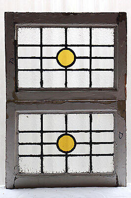 Pair of Antique Stained Glass Windows Simple Bright Design (3036)