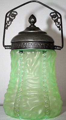ANTIQUE 19th C. VICTORIAN VASELINE GLASS BEADED BISCUIT JAR W/ SILVERPLATE. RARE