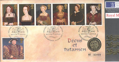 1997 coin cover; Henry VIII Hever Castle; Royal Mint £1 One Pound; free UK pp