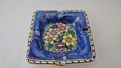 Antique Maling Pottery Lustre Ware Clematis Pattern Square Ashtray A/F