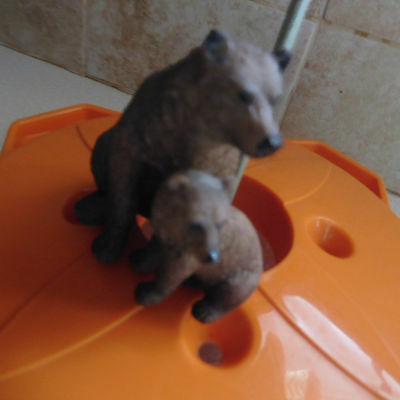 Heavy Resin or Living Stone BROWN BEAR and CUB ornament figurine