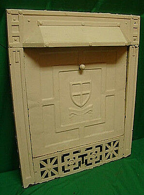 Antique 1800's Cast Iron With Summer Tin Cover Ornate Fireplace Cover Shield