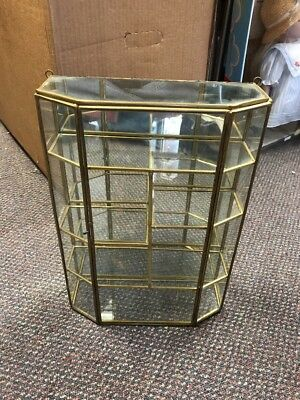 Vintage Brass & Glass Curio Display Case Wall Hanging Shelv