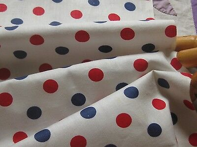 """VINTAGE RED/WHITE/BLUE POLKA DOT Cotton REMNANT/26""""LX35""""W, DOLLS/Bears/QUILTS"""