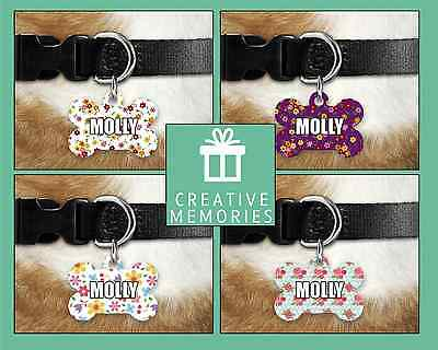 Custom Personalised Pet Dog Name ID Tag For Collar Pet Tags - Flowers