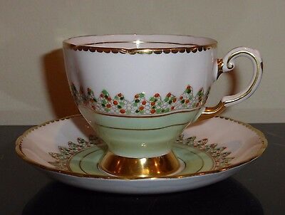 Vintage TUSCAN FINE BONE CHINA Pale Pink and Pale Turquoise Cup and Saucer