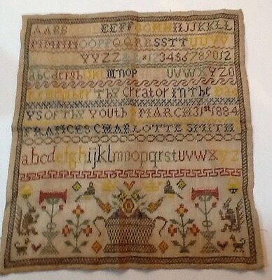 19th CENTURY MOTIF VERSE & ALPHABET SAMPLER BY FRANCES CHARLOTTE SMITH 1884