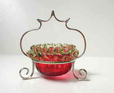 Ruby Glass Salt with Double Row Vaseline Glass Rigaree Rim in SP Basket Holder
