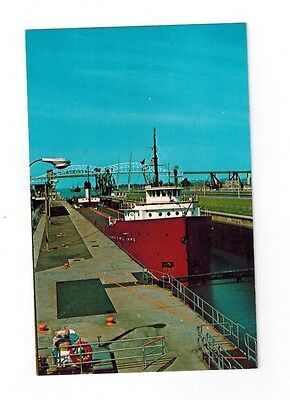 Great Lakes Ship Postcard - Homer D Williams Freighter at The Soo Locks