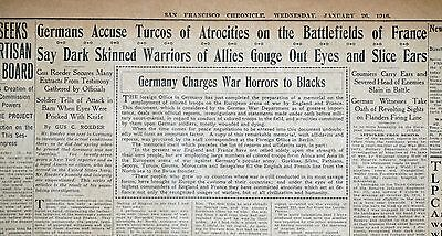 1916 San Francisco Newspaper Page - Germany Charges War Horrors to Blacks