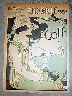 1918 San Francisco Newspaper Sunday Magazine Color Page - Women Playing Golf