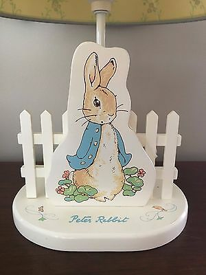 Peter Rabbit Baby Nursery Night Light Lamp Eden Wooden Picket Fence w Shade NICE