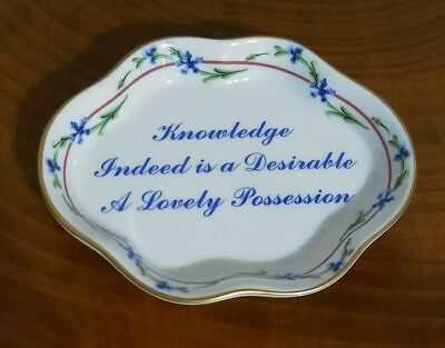Mottahedeh Portugal Porcelain Trinket Dish, Spoon Rest, Knowledge Quote, Gift
