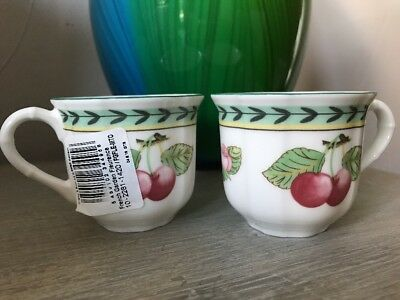 Pair of Villeroy & Boch French Garden Fleurence After Dinner Cups New