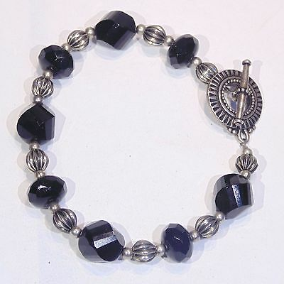Vintage c. 1990s black faceted glass bead, silver tone bracelet, toggle clasp