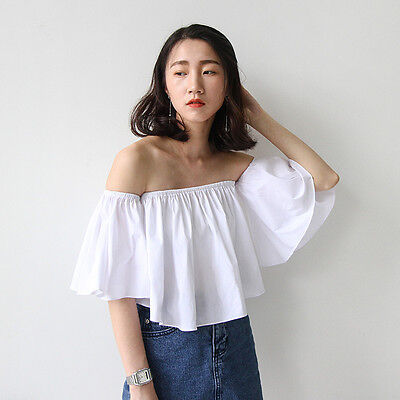Fashion Women's Casual Off-Shoulder Flare Sleeve Strapless Tank Tops Blouse M
