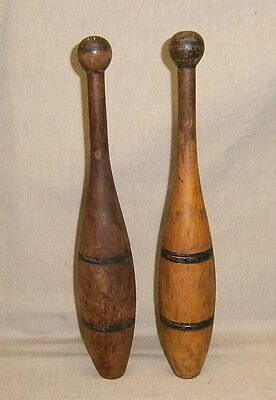 Pair of Antique Wooden Exercise Indian Clubs