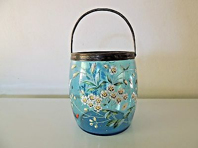 Antique Glass Biscuit Jar Enamel DAISY Floral INSECTS Decoration Metal No Lid