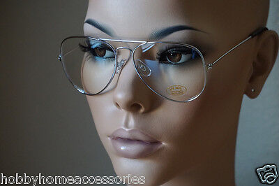 Aviator Glasses Hipster Vintage Style Retro Metal Clear ALL Silver 112