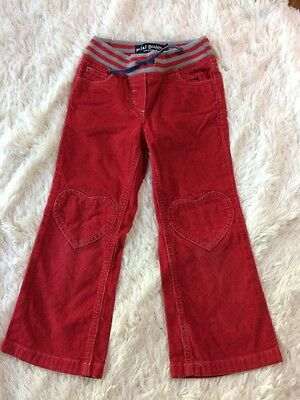 Mini Boden Girls 5Y Red Corduroy Draw String Pants With Heart Knees