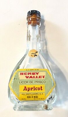 Vintage Henry Vallet Licor De Priscilla Apricot Empty Miniature Liquor Bottle