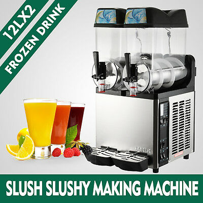 2 Tank Commercial Frozen Drink Slush Slushy Make Machine Smoothie Maker