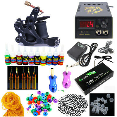 Pro Starter Tattoo Kit 1 Machine Gun 10 Color inks 50 Needles Power Supply Set