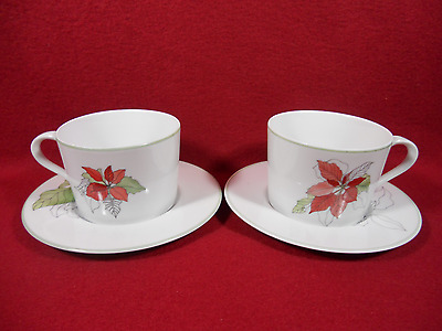 2 Block Spal Portugal Poinsettia Watercolors cups with saucers-1982- Goertzen