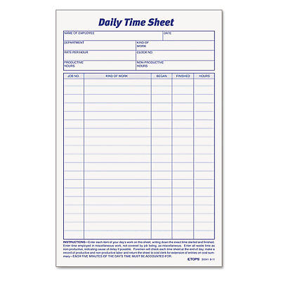 TOPS Daily Time Sheet Forms - TOP30041