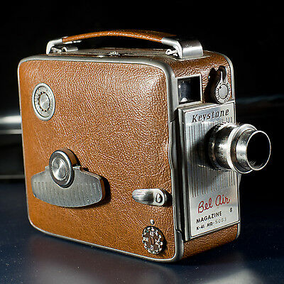 """Keystone K-41 8mm Camera, Leather Case, 1/2"""" and Wide Angle Lenses"""