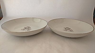 "Pair of Belcrest Bavaria Krautheim Whispering Rose 7 3/4"" Coupe Soup Bowls"