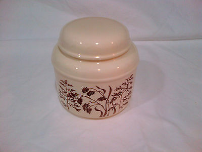 Rare J & G Meakin Windswept Covered Sugar Bowl with Lid - England - Ivory/Brown