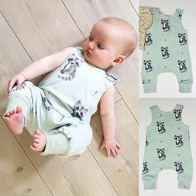 Newborn Baby Girls Cat Cotton Casual Romper Jumpsuit Bodysuit Outfits Clothes