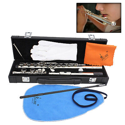 Silver Standard Copper Student C Flute 16 Keys Hole + Case ,Perfect For School