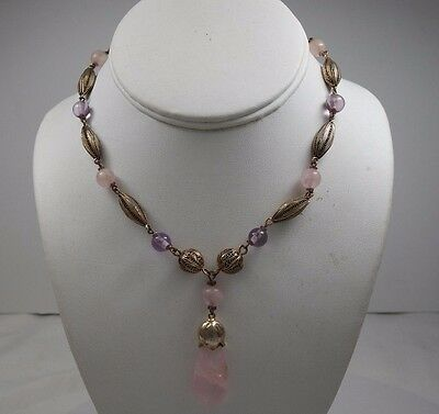 Antique Chinese Filigree Bead Natural Stone Necklace